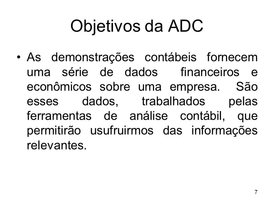 Objetivos da ADC As demonstrações contábeis fornecem uma série de dados financeiros e econômicos sobre uma empresa. São esses dados, trabalhados pelas