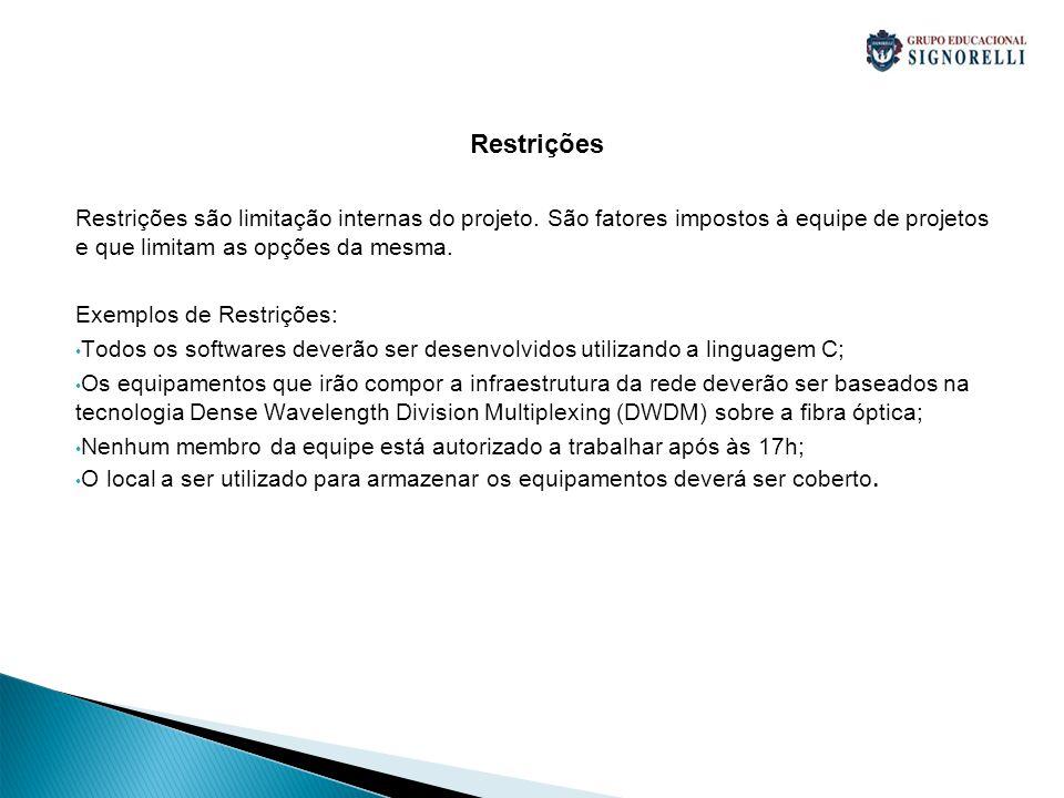 Restrições Restrições são limitação internas do projeto.