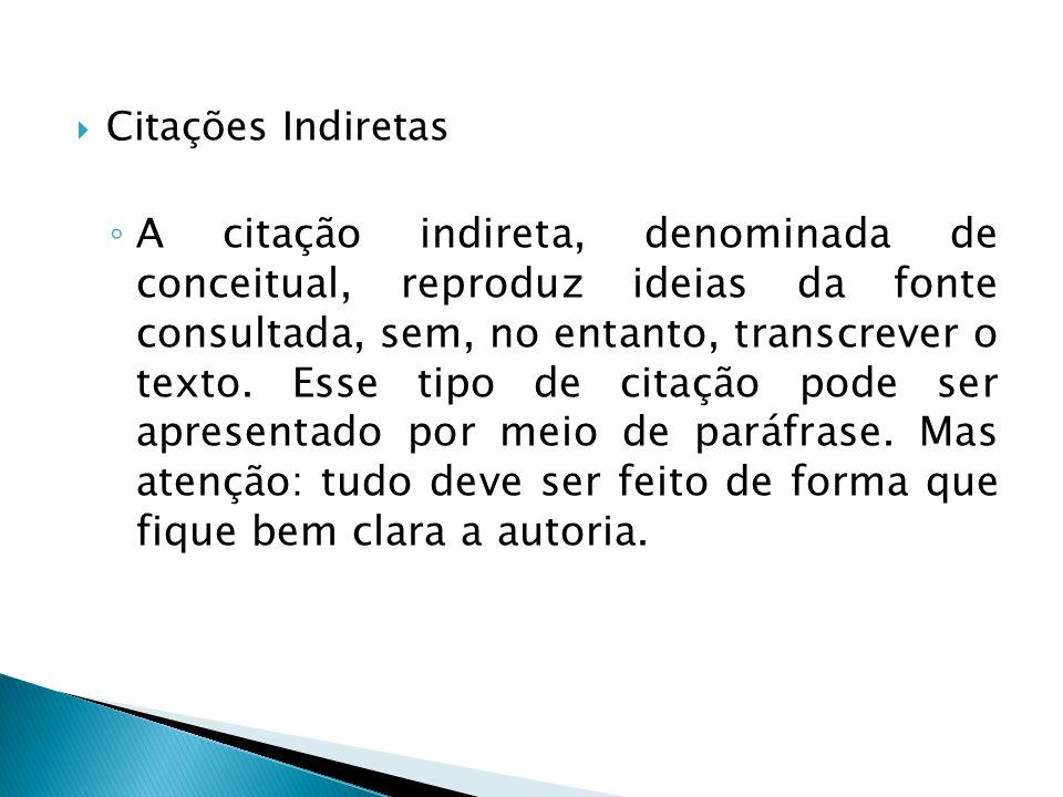 Citações Indiretas A citação indireta, denominada de conceitual, reproduz ideias da fonte consultada, sem, no entanto, transcrever o texto. Esse tipo