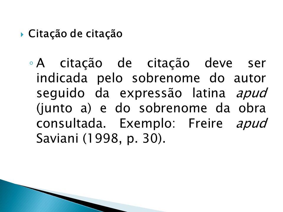 Citação de citação A citação de citação deve ser indicada pelo sobrenome do autor seguido da expressão latina apud (junto a) e do sobrenome da obra co