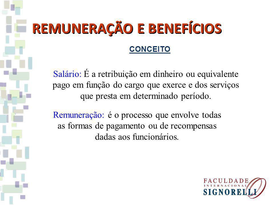 CONCEITO REMUNERAÇÃO E BENEFÍCIOS Salário: É a retribuição em dinheiro ou equivalente pago em função do cargo que exerce e dos serviços que presta em determinado período.