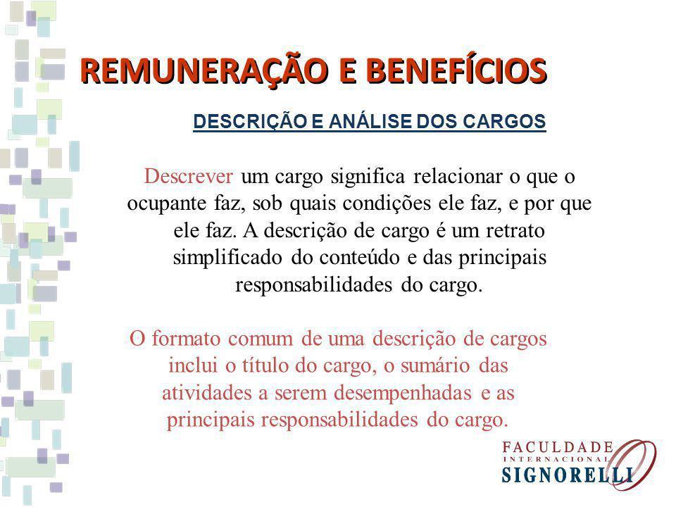 DESCRIÇÃO E ANÁLISE DOS CARGOS REMUNERAÇÃO E BENEFÍCIOS Descrever um cargo significa relacionar o que o ocupante faz, sob quais condições ele faz, e p
