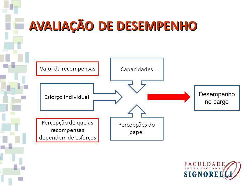 AVALIAÇÃO DE DESEMPENHO Desempenho no cargo Esforço Individual Valor da recompensas Percepção de que as recompensas dependem de esforços Capacidades Percepções do papel