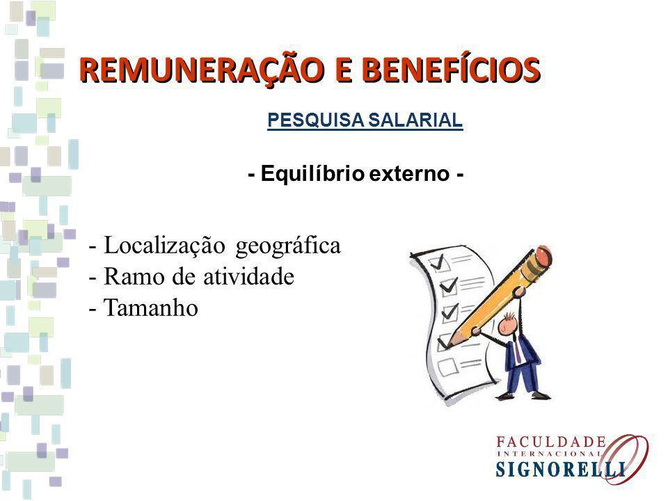 PESQUISA SALARIAL REMUNERAÇÃO E BENEFÍCIOS - Equilíbrio externo - - Localização geográfica - Ramo de atividade - Tamanho