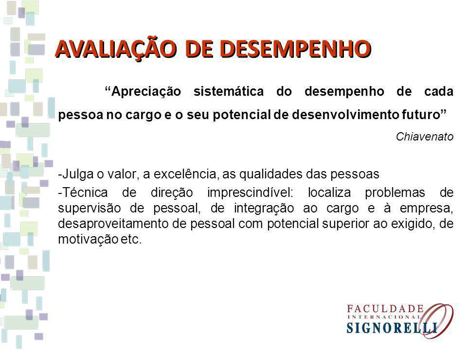 Apreciação sistemática do desempenho de cada pessoa no cargo e o seu potencial de desenvolvimento futuro Chiavenato -Julga o valor, a excelência, as q