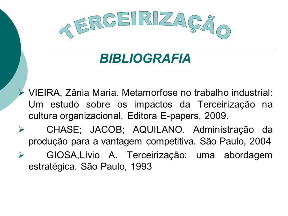 BIBLIOGRAFIA VIEIRA, Zânia Maria. Metamorfose no trabalho industrial: Um estudo sobre os impactos da Terceirização na cultura organizacional. Editora