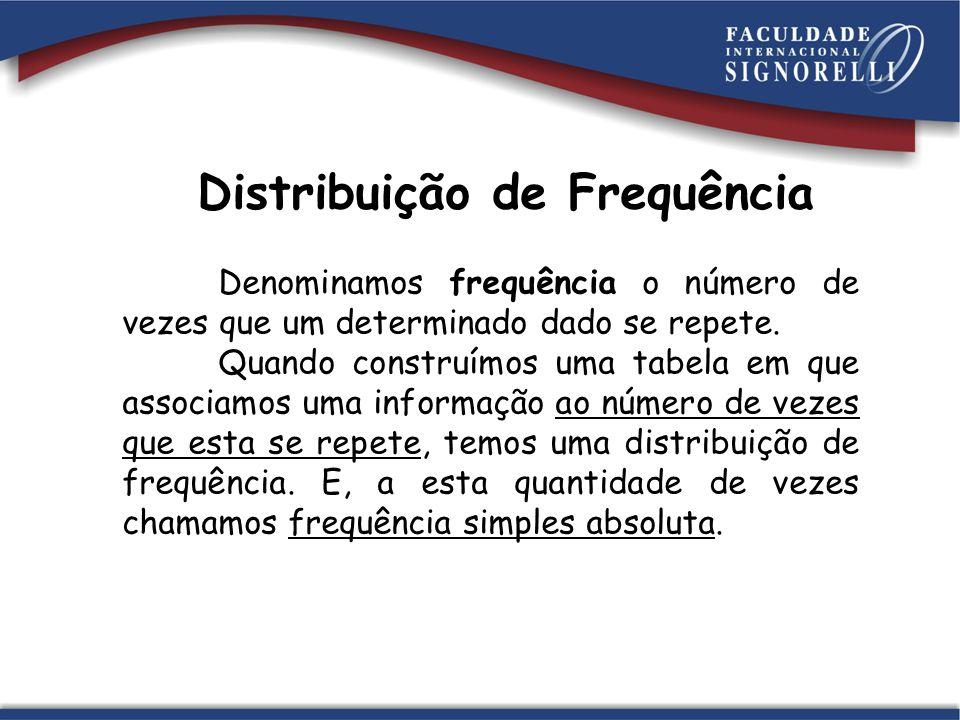 Distribuição de Frequência Denominamos frequência o número de vezes que um determinado dado se repete. Quando construímos uma tabela em que associamos