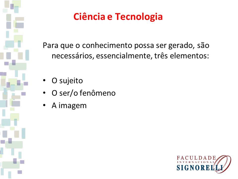 Para que o conhecimento possa ser gerado, são necessários, essencialmente, três elementos: O sujeito O ser/o fenômeno A imagem Ciência e Tecnologia