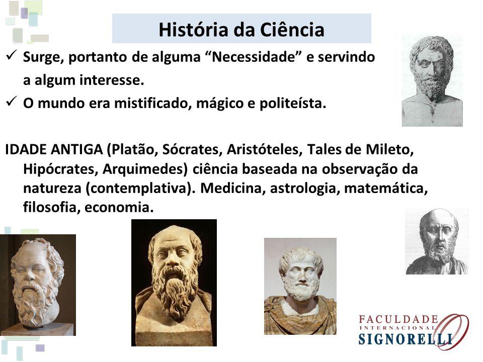 História da Ciência Surge, portanto de alguma Necessidade e servindo a algum interesse. O mundo era mistificado, mágico e politeísta. IDADE ANTIGA (Pl