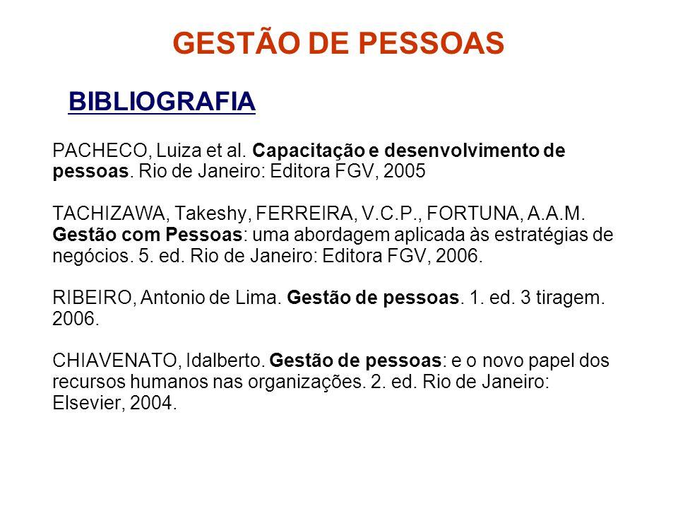 BIBLIOGRAFIA PACHECO, Luiza et al.Capacitação e desenvolvimento de pessoas.