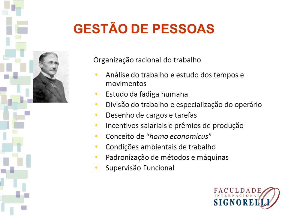 GESTÃO DE PESSOAS Organização racional do trabalho Análise do trabalho e estudo dos tempos e movimentos Estudo da fadiga humana Divisão do trabalho e