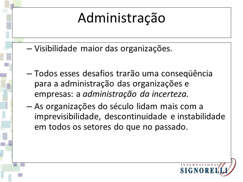 Administração – Visibilidade maior das organizações.