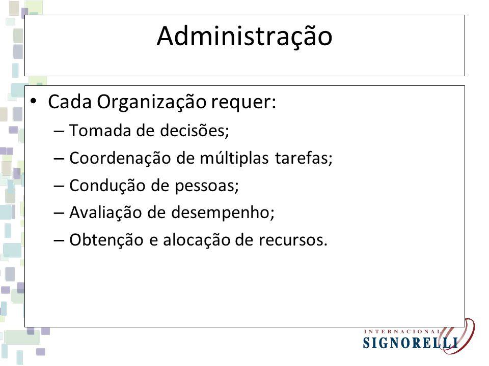 Administração Cada Organização requer: – Tomada de decisões; – Coordenação de múltiplas tarefas; – Condução de pessoas; – Avaliação de desempenho; – Obtenção e alocação de recursos.