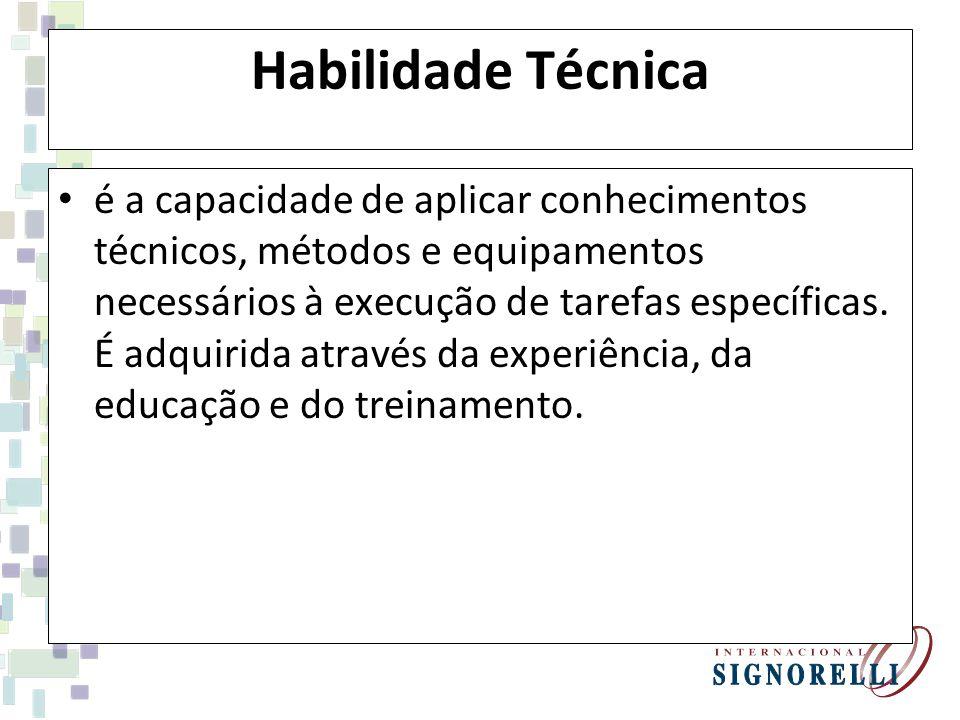 Habilidade Técnica é a capacidade de aplicar conhecimentos técnicos, métodos e equipamentos necessários à execução de tarefas específicas.
