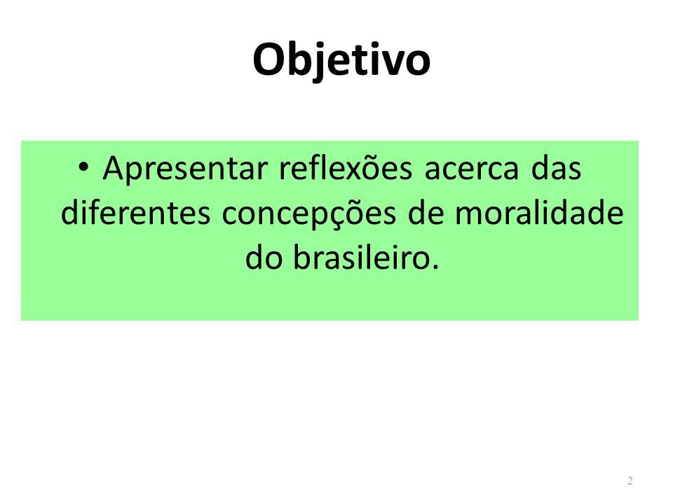 Objetivo Apresentar reflexões acerca das diferentes concepções de moralidade do brasileiro. 2
