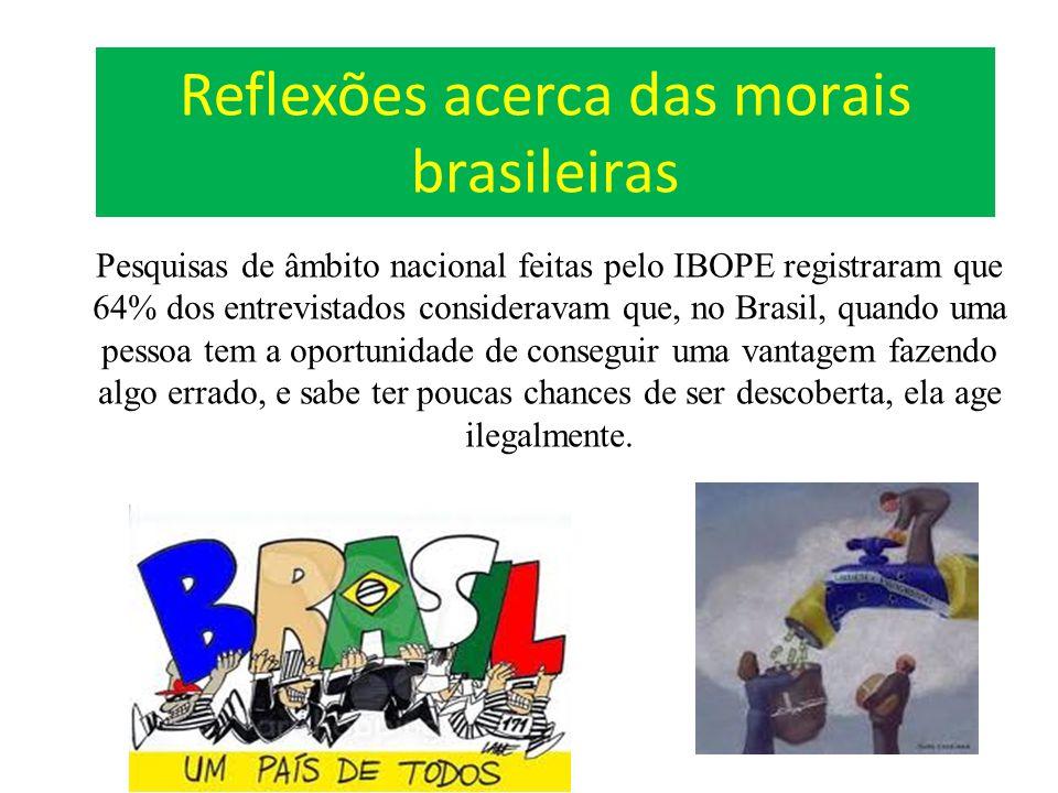 Reflexões acerca das morais brasileiras Pesquisas de âmbito nacional feitas pelo IBOPE registraram que 64% dos entrevistados consideravam que, no Bras