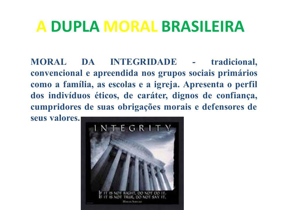 A DUPLA MORAL BRASILEIRA MORAL DA INTEGRIDADE - tradicional, convencional e apreendida nos grupos sociais primários como a família, as escolas e a igr