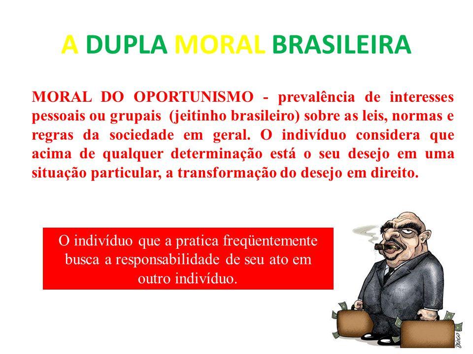 A DUPLA MORAL BRASILEIRA MORAL DO OPORTUNISMO - prevalência de interesses pessoais ou grupais (jeitinho brasileiro) sobre as leis, normas e regras da