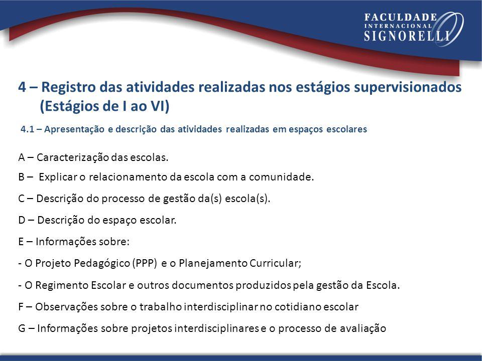 4 – Registro das atividades realizadas nos estágios supervisionados (Estágios de I ao VI) 4.1 – Apresentação e descrição das atividades realizadas em