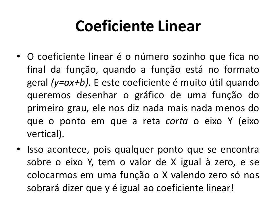 Coeficiente Linear O coeficiente linear é o número sozinho que fica no final da função, quando a função está no formato geral (y=ax+b).