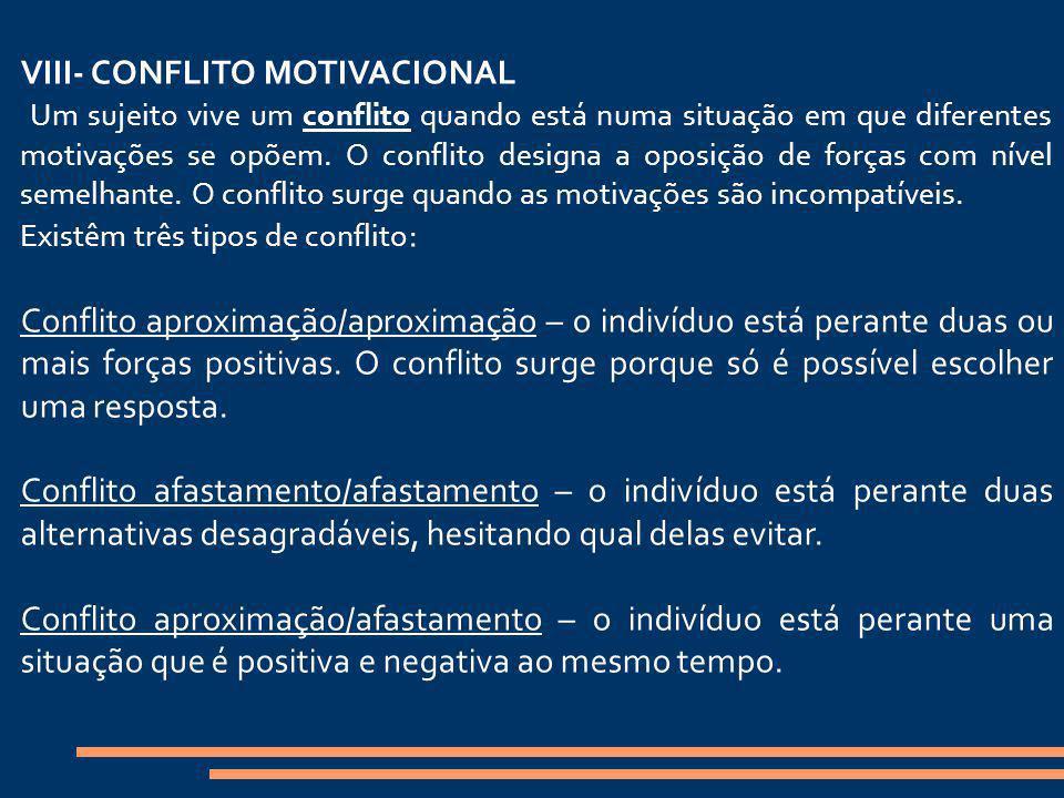 VIII- CONFLITO MOTIVACIONAL Um sujeito vive um conflito quando está numa situação em que diferentes motivações se opõem. O conflito designa a oposição