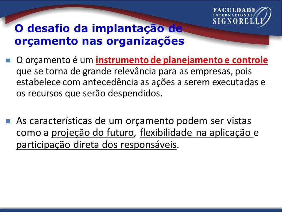 Condicionantes básicos para implantação do Orçamento Apoio efetivo da alta administração na implantação do orçamento.