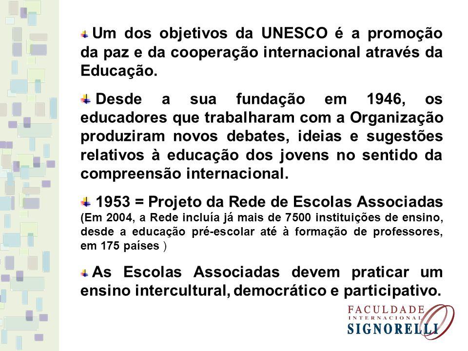 Um dos objetivos da UNESCO é a promoção da paz e da cooperação internacional através da Educação.