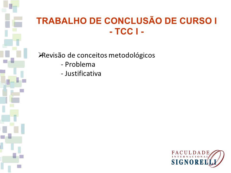 Revisão de conceitos metodológicos - Problema - Justificativa TRABALHO DE CONCLUSÃO DE CURSO I - TCC I -