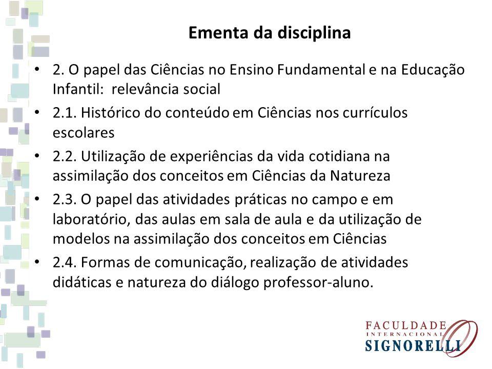 Ementa da disciplina 2.