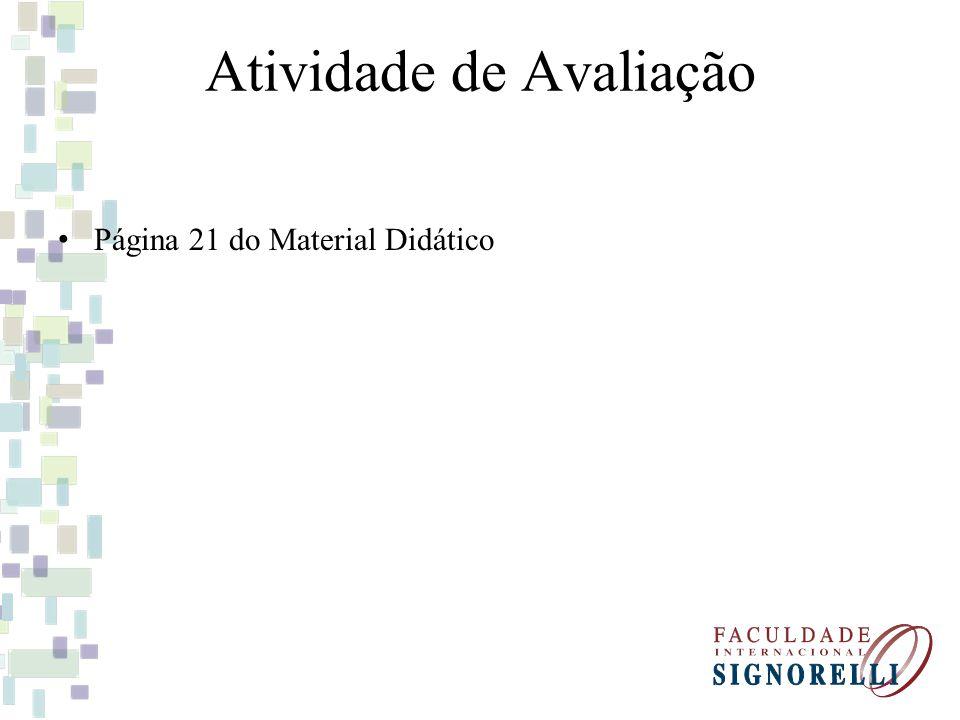 Atividade de Avaliação Página 21 do Material Didático
