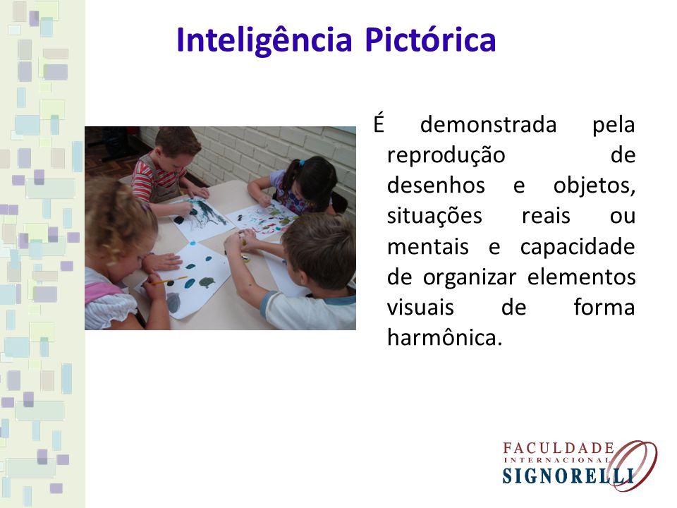Inteligência Pictórica É demonstrada pela reprodução de desenhos e objetos, situações reais ou mentais e capacidade de organizar elementos visuais de
