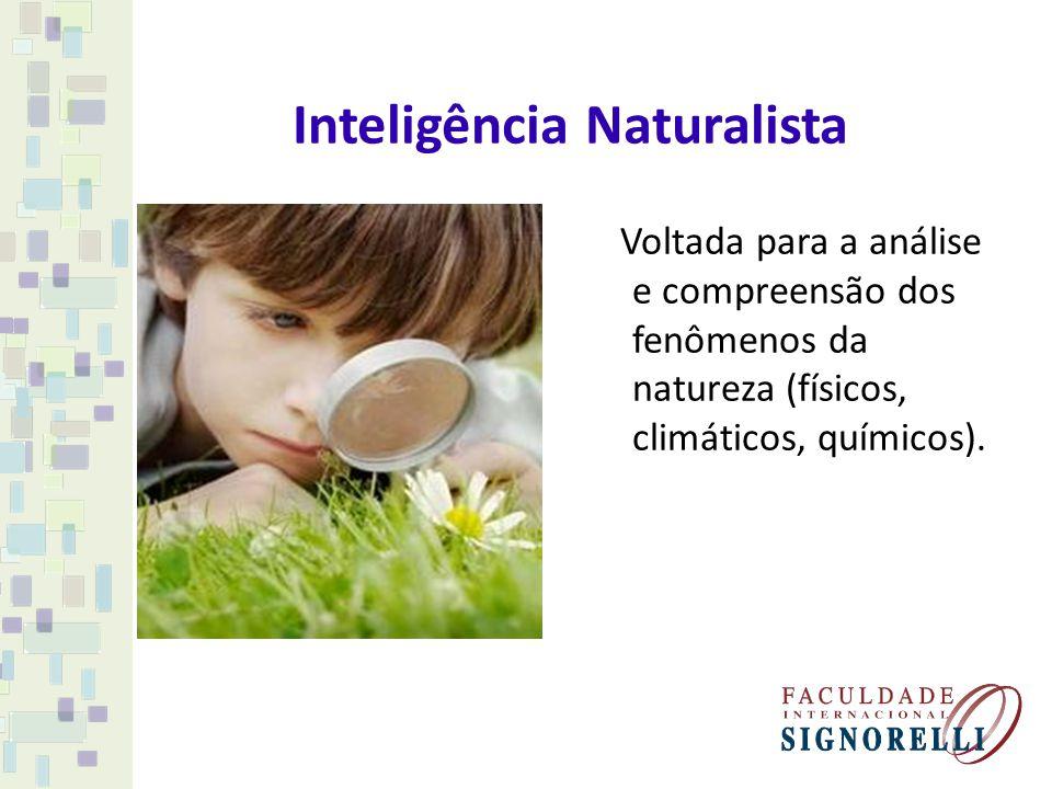 Inteligência Naturalista Voltada para a análise e compreensão dos fenômenos da natureza (físicos, climáticos, químicos).