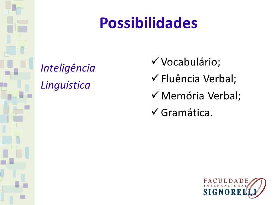 Possibilidades Inteligência Linguística Vocabulário; Fluência Verbal; Memória Verbal; Gramática.
