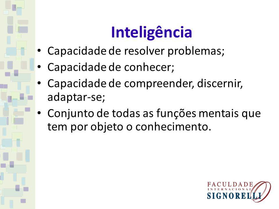 Inteligência Capacidade de resolver problemas; Capacidade de conhecer; Capacidade de compreender, discernir, adaptar-se; Conjunto de todas as funções