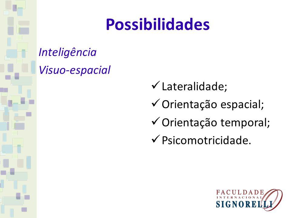 Possibilidades Inteligência Visuo-espacial Lateralidade; Orientação espacial; Orientação temporal; Psicomotricidade.