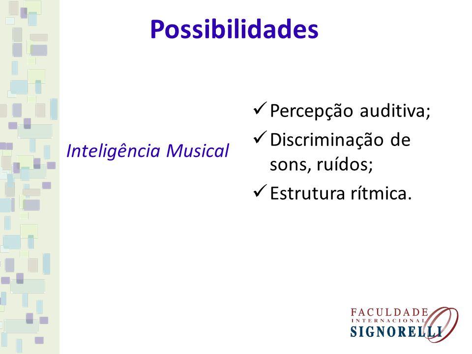 Possibilidades Inteligência Musical Percepção auditiva; Discriminação de sons, ruídos; Estrutura rítmica.