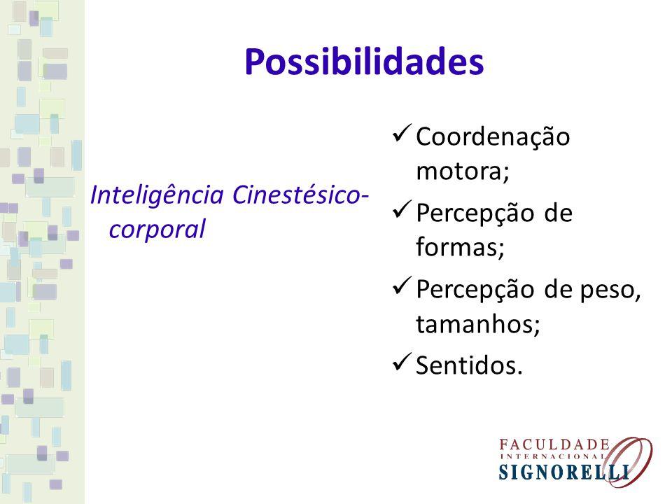 Possibilidades Inteligência Cinestésico- corporal Coordenação motora; Percepção de formas; Percepção de peso, tamanhos; Sentidos.