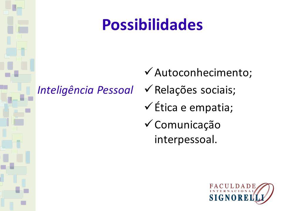 Possibilidades Inteligência Pessoal Autoconhecimento; Relações sociais; Ética e empatia; Comunicação interpessoal.