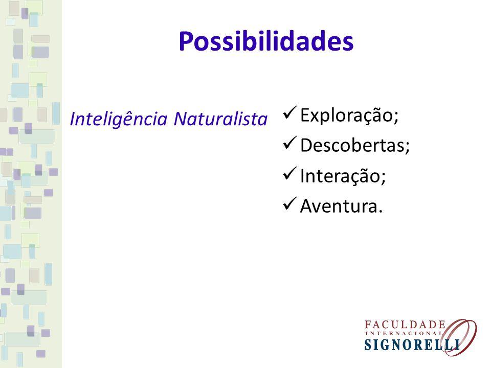 Possibilidades Inteligência Naturalista Exploração; Descobertas; Interação; Aventura.