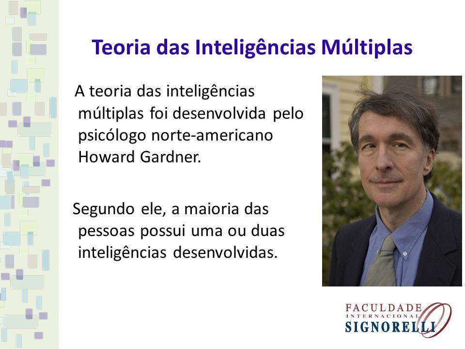 Teoria das Inteligências Múltiplas A teoria das inteligências múltiplas foi desenvolvida pelo psicólogo norte-americano Howard Gardner. Segundo ele, a