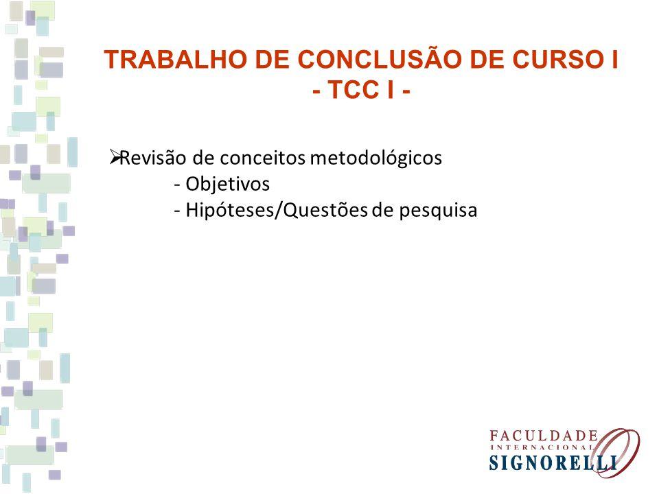 Revisão de conceitos metodológicos - Objetivos - Hipóteses/Questões de pesquisa TRABALHO DE CONCLUSÃO DE CURSO I - TCC I -