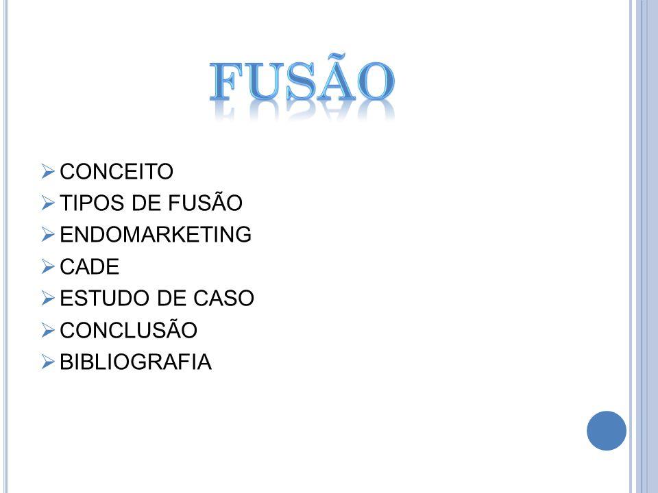 CONCEITO TIPOS DE FUSÃO ENDOMARKETING CADE ESTUDO DE CASO CONCLUSÃO BIBLIOGRAFIA