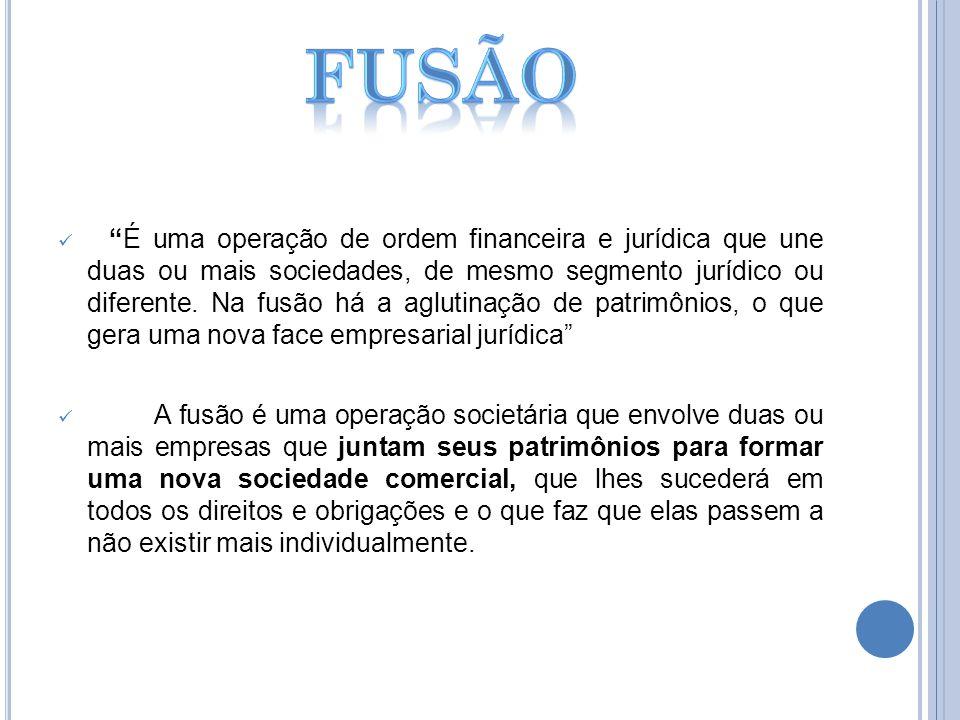 É uma operação de ordem financeira e jurídica que une duas ou mais sociedades, de mesmo segmento jurídico ou diferente. Na fusão há a aglutinação de p