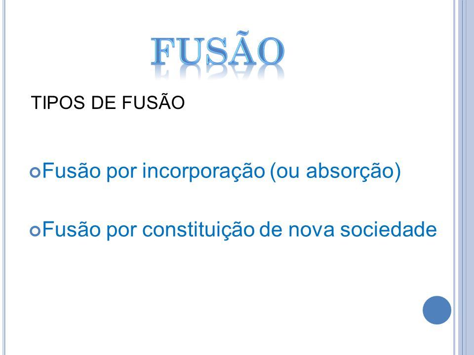 Fusão por incorporação (ou absorção) Fusão por constituição de nova sociedade TIPOS DE FUSÃO