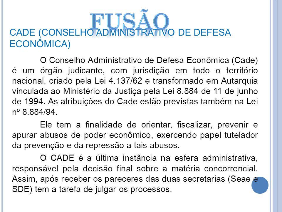 CADE (CONSELHO ADMINISTRATIVO DE DEFESA ECONÔMICA) O Conselho Administrativo de Defesa Econômica (Cade) é um órgão judicante, com jurisdição em todo o