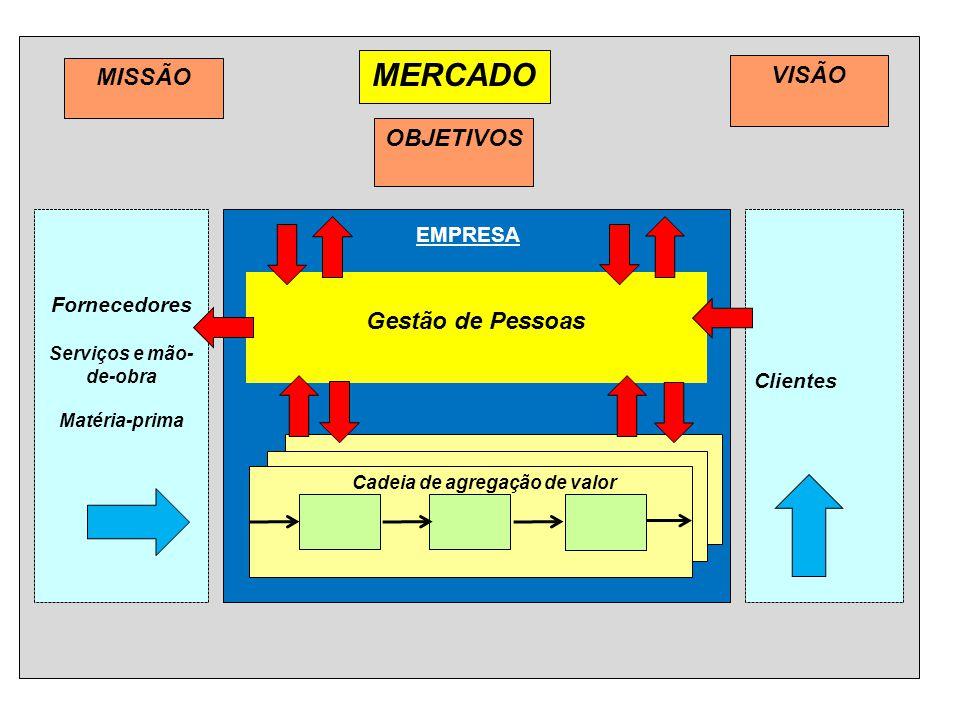 Gestão de Pessoas MISSÃO MERCADO VISÃO Fornecedores Serviços e mão- de-obra Matéria-prima Clientes OBJETIVOS EMPRESA Cadeia de agregação de valor