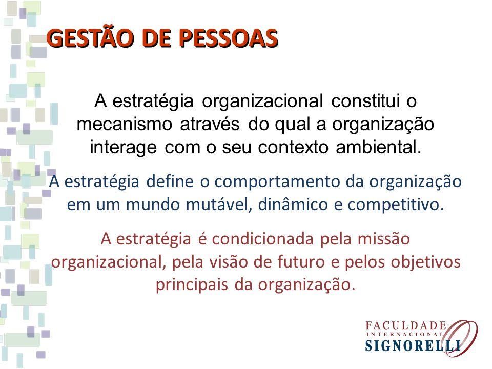 A estratégia organizacional constitui o mecanismo através do qual a organização interage com o seu contexto ambiental. A estratégia define o comportam