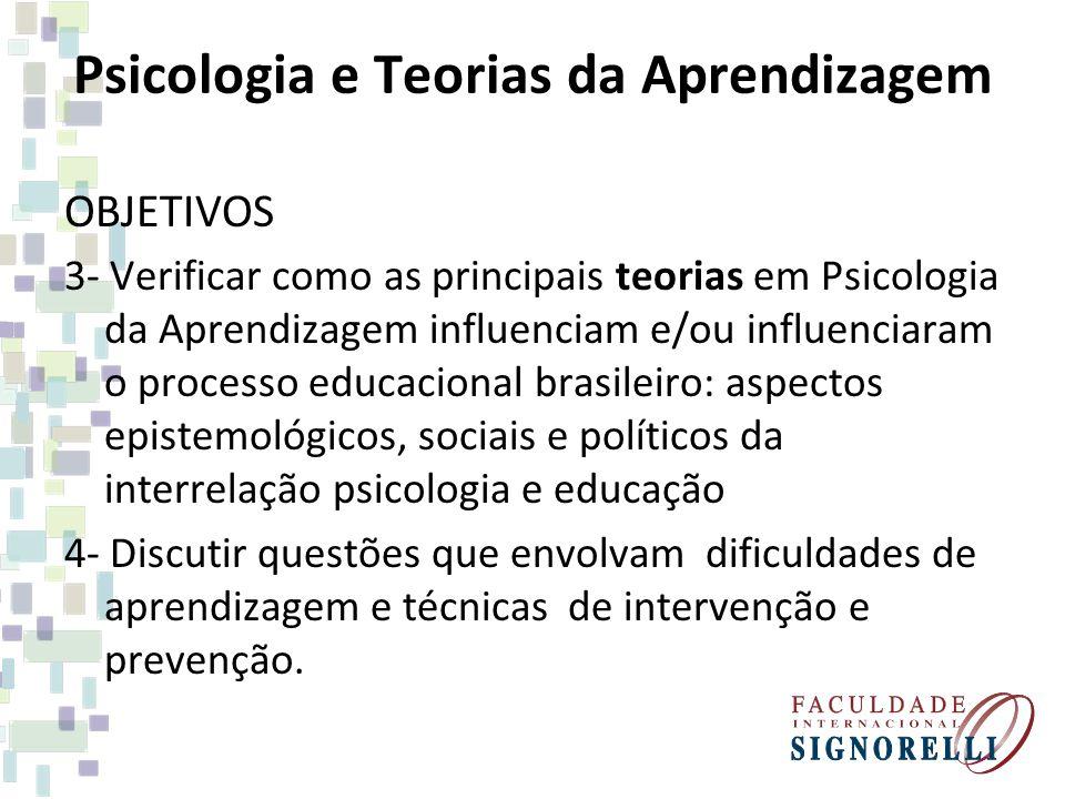 Psicologia e Teorias da Aprendizagem OBJETIVOS 3- Verificar como as principais teorias em Psicologia da Aprendizagem influenciam e/ou influenciaram o