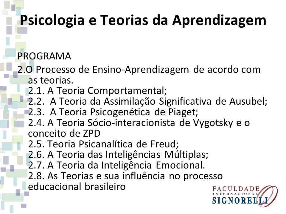 Psicologia e Teorias da Aprendizagem PROGRAMA 2.O Processo de Ensino-Aprendizagem de acordo com as teorias. 2.1. A Teoria Comportamental; 2.2. A Teori