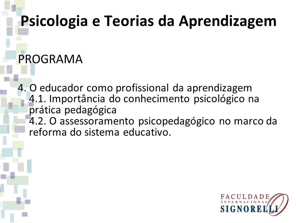 Psicologia e Teorias da Aprendizagem PROGRAMA 4. O educador como profissional da aprendizagem 4.1. Importância do conhecimento psicológico na prática